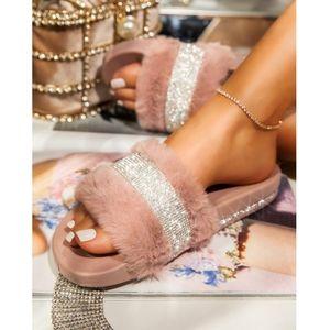 Just In! 💎🖤Luxury Diamante Slide Sandal - MAUVE
